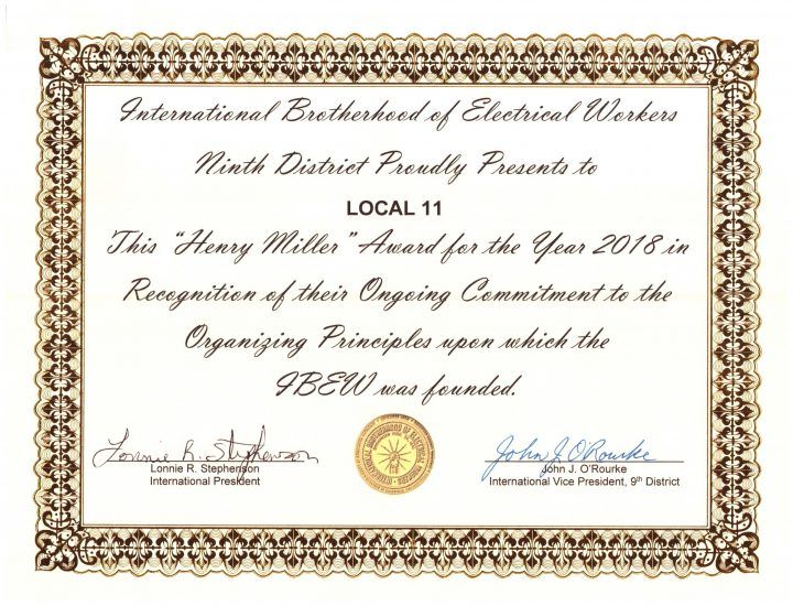 Ninth District Recognizes IBEW 11 Organizing Efforts!
