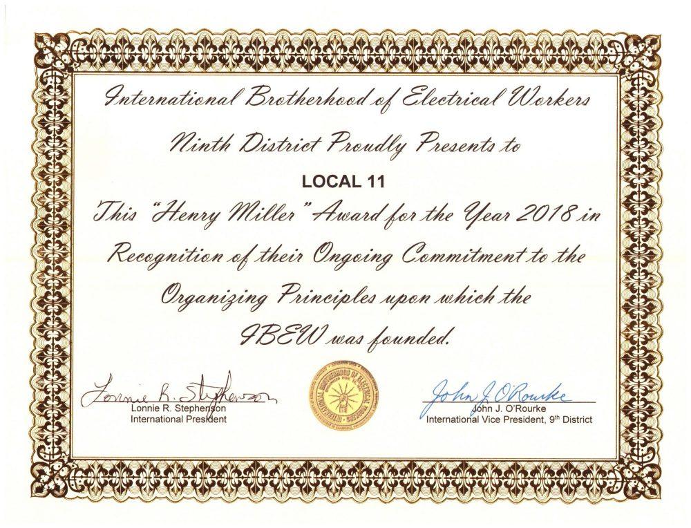 Ninth District Recognizes IBEW 11 Organizing Efforts!