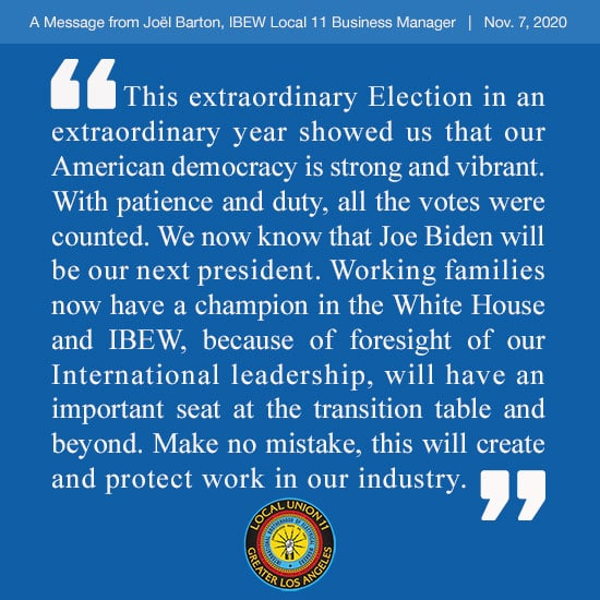 Election Message from Business Mgr. Joël Barton